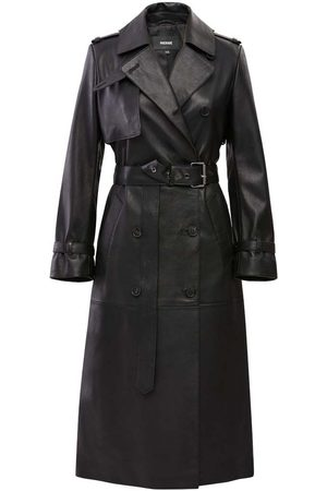 Mackage Gael Leather Trench Coat with Belt in Black