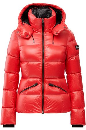 Mackage Madalyn Lustrous Light Down Jacket with Hood in Punch