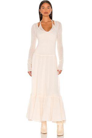 JONATHAN SIMKHAI Damen Lange Kleider - Alessia Sheer Alpaca Maxi Dress in - Ivory. Size L (also in XS, S, M).