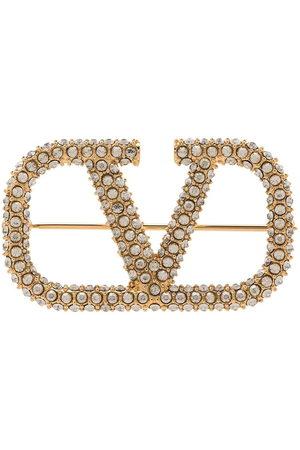 VALENTINO GARAVANI Damen Broschen - Crystal-embellished Vlogo brooch