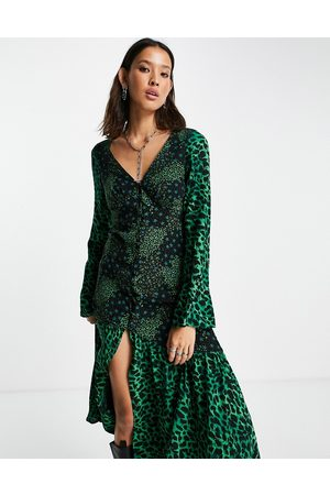 Topshop Mix and match star and leopard print button front midi dress-Multi