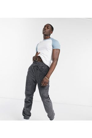 ASOS Relaxed cord joggers in charcoal-Grey