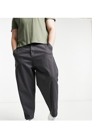 ASOS Oversized tapered chino trousers in charcoal-Grey