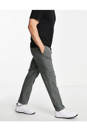 River Island Herren Chinos - Checked trousers in black and green