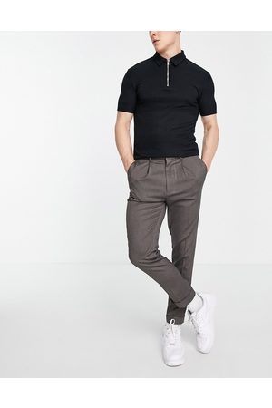 ASOS Tapered smart trousers in textured camel with turn up-Neutral