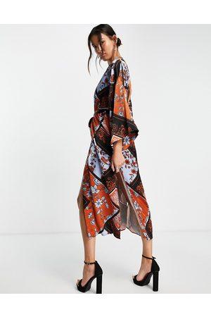 Topshop Premium satin kimono dress in patchwork-Multi