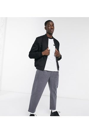 ASOS Herren Chinos - Wide leg trousers with pleats in charcoal-Grey