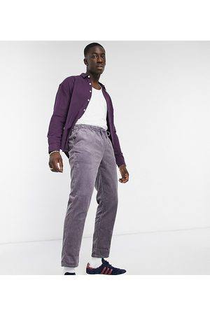 ASOS Herren Chinos - Cord slim trousers in washed purple with elasticated waist