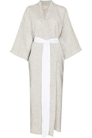 Deiji Studios Damen Bedruckte Kleider - Stripe print tied waist robe