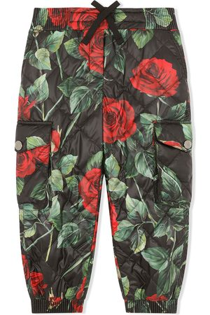 Dolce & Gabbana Mädchen Cargohosen - Rose-print quilted cargo trousers