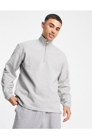 SELECTED Co-ord quarter zip sweat in light grey