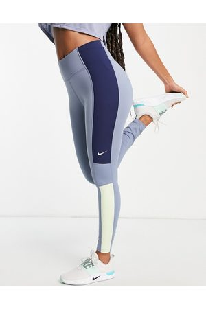Nike One Colourblock leggings in blue