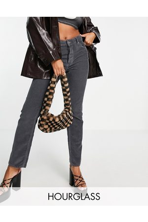ASOS Hourglass mid rise '90s' straight leg jeans in granite cord-Grey