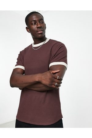 ASOS Waffle t-shirt in dark brown with beige contrast trims