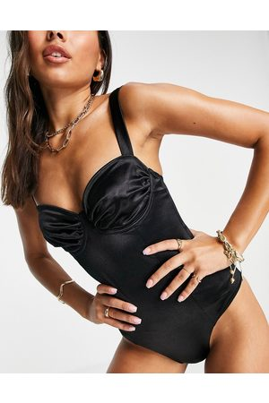 ASOS Slinky underwired swimsuit in black