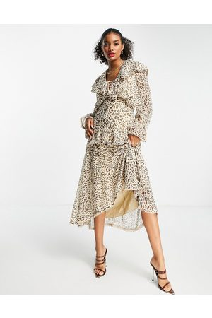 ASOS Ruffle plunge midi dress with lace trims in leopard print-Multi