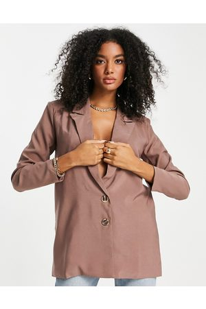 Urban Threads Oversized blazer co-ord in taupe-Brown