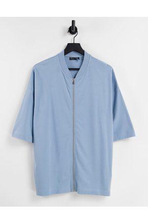 ASOS Oversized half sleeve t-shirt with zip in blue