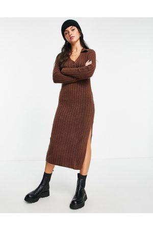 ASOS Knitted midi dress with collar and button front in rust-Brown