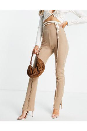 Public Desire Seam detail split hem trouser in sand-Neutral