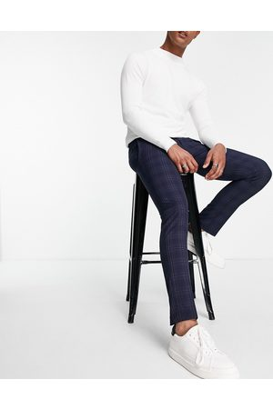 River Island Skinny check trousers in navy