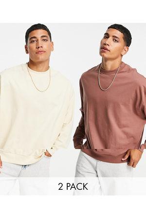 ASOS Lightweight oversized sweatshirt in brown/beige 2 pack-Multi