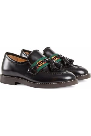 Gucci Web-trim leather loafers
