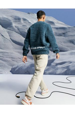 ASOS Oversized teddy borg sweatshirt with logo embroidery-Navy