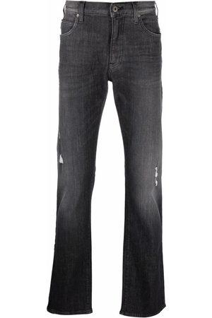 Emporio Armani Herren Straight - Logo-plaque jeans