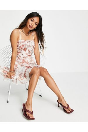 ASOS Cami mini corset dress with godet detail skirt in floral print-Multi