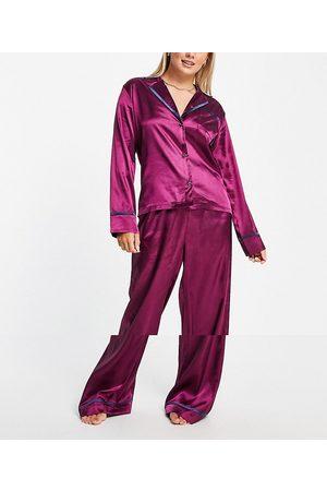 NIGHT Revere collar pyjama set in purple