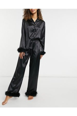 NIGHT Satin shirt and trouser pyjama set with detachable feather trims in black