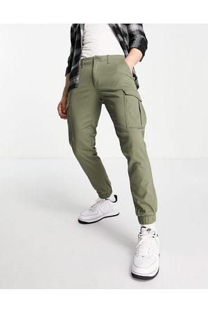 JACK & JONES Intelligence cuffed cargo trousers in khaki-Green
