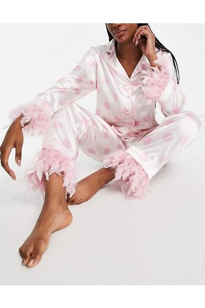 NIGHT Satin pyjamas with detachable faux feather trim in cream and pink spot-White