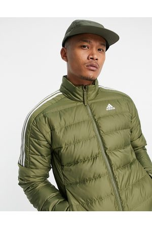 adidas Adidas Outdoor down puffer jacket with three stripes in khaki-Green