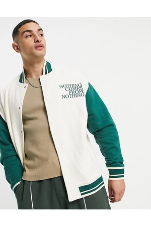 ASOS Oversized jersey varsity jacket in vintage colour block with chest print-Multi
