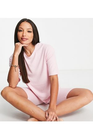 ASOS ASOS DESIGN Tall exclusive lounge super soft rib oversized tee & legging short set in pink