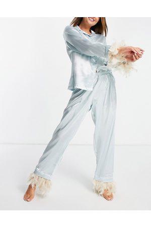 NIGHT Satin pyjamas with faux feather trim in aqua-Blue