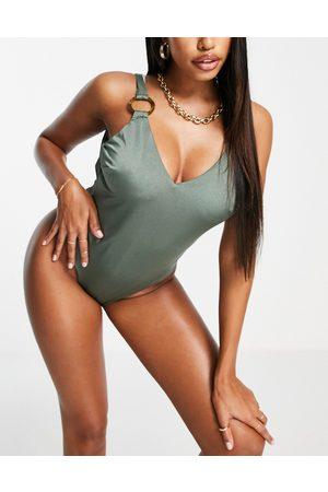ASOS Fuller bust ring details swimsuit in khaki-Green
