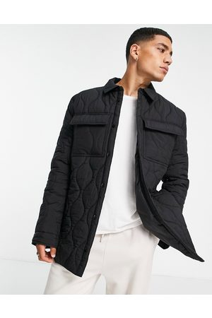 ASOS Quilted overshirt with stitch detail in black