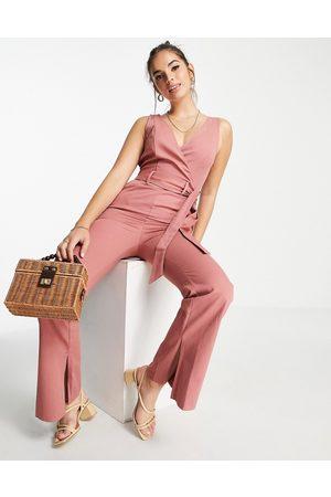 ASOS Twill wrap front split hem flare jumpsuit in rose-Pink