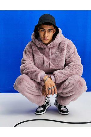 ASOS Co-ord oversized faux fur hoodie in pink
