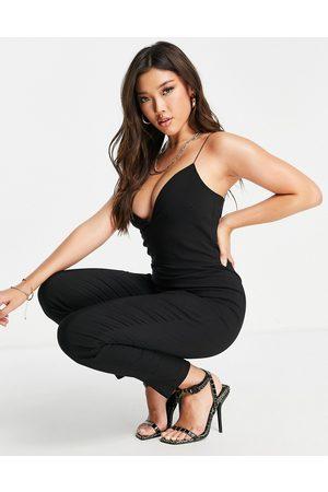 Vesper Plunge front jumpsuit in black