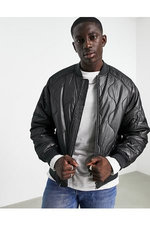 ASOS Onion quilted bomber jacket in black