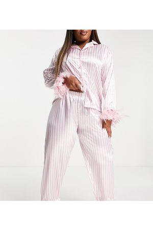 NIGHT Plus satin pyjamas with detachable faux feather trim in pink stripe