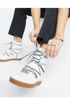 Calvin Klein Fiorenza lace up boots in white