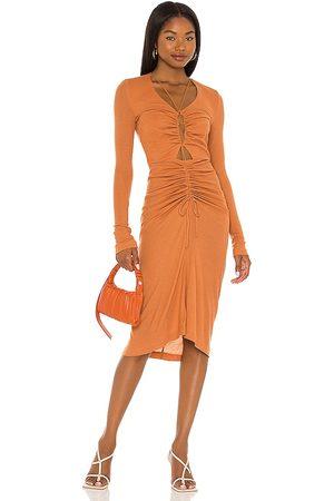Song of Style Zuri Midi Dress in - Rust. Size L (also in XXS, XS, S, M, XL).