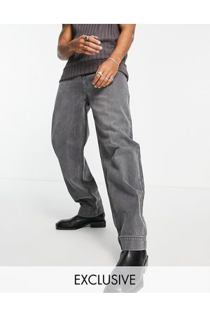 Reclaimed Inspired 90s baggy jean in heavy washed black-Grey