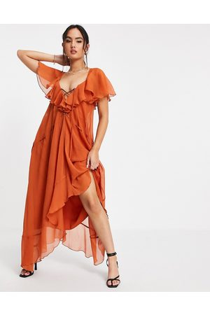 ASOS Ruffle midi dress with lace up front and adjustable waist detail in rust-Brown