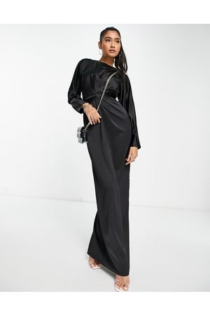 ASOS Damen Lange Kleider - Satin maxi dress with batwing sleeve and wrap waist in black